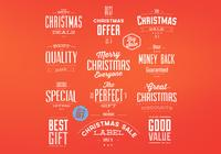 Retro Christmas Badges PSD Set