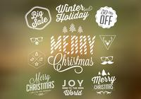 Kerstmis Badges en Elements PSD Set