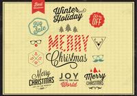Colored Christmas Badges PSD Set