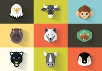 Square Flat Animal Icon Pack PSD