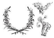 Cuadros frondosos libres y cepillos del ornamento
