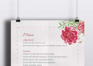 Carré d'aquarelle, modèle de menu d'impression A5 - The Smell of Roses