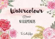 Escovas de flores de aquarela - O cheiro de rosas
