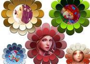 Funky marcos de flores PSD