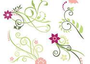 Escovas de redemoinho florais rosa e verde