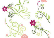 Rosa und grüne florale Strudelbürsten