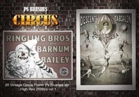 20 Vintage Circus Poster Ps Brushes vol.1