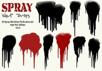 20 Spray Wet Drips PS Brushes Vol.6