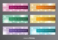 Banners PSD con lentejuelas de colores