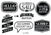 Cute Hand Drawn Style Summer Label Brushes