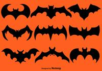 Set Of Black Bat Silhouettes Brushes