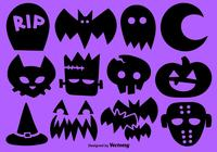 Set Of 12 Halloween Brush Icons