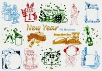 20 New Year Vintage PS Brushes abr. Vol.1