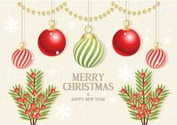 Ornamentos de la rama de la Navidad PSD