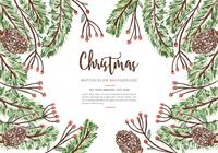 Christmas Watercolor Background PSD