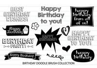 Cepillos de Doodle de cumpleaños
