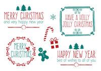 Conjunto de cepillo de Navidad de estilo dibujado a mano