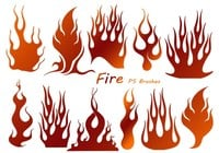 20 Fire Silhouette PS Brushes abr.Vol.14