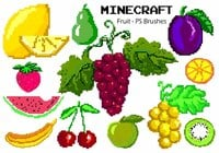 20 Minecraft Fruit PS Brushes ABR. Volúmen 1