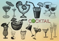 20 Cocktail-Vektor-Pinsel