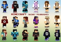 20 Minecraft Skins PS Brushes abr. Vol.12