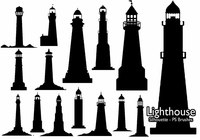 20 Lighthouse Silhouette  PS Brushes abr.Vol.5