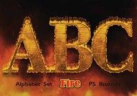 20 Fire Alphabet Set PS Brushes abr.Vol.19