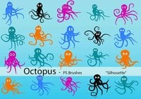 20 Octopus Silhouette PS Brushes abr.Vol.5