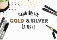 Handgetekende Gouden en Zilveren Patronen