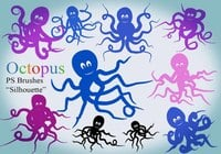20 Octopus Silhouette PS Brushes abr.Vol.8