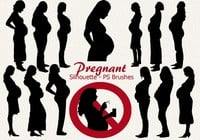 20 Pregnant Silhouette PS Brushes abr.Vol.3