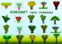 20 Minecraft Tree PS Brushes abr. Vol.17