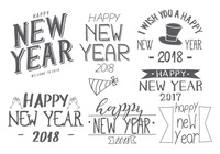 Hand Drawn New Years 2018 Brush Collection