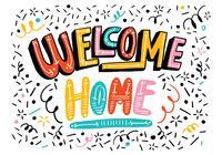 Bright Willkommen Home Lettering PSD