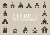 Free Church Silhouette Photoshop Brushes 1