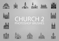 Free Church Silhouette Photoshop Brushes 2