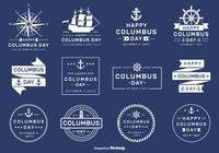 Happy Columbus Day 2017 PSD Etiquetas y insignias