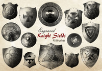 20 Engraved Knight Sield PS Brushes abr.vol.8