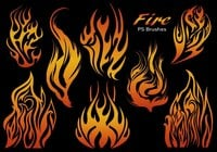 20 Fire Silhouette PS Brushes abr.Vol.21