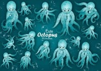 20 Cute Octopus PS Pinceles abr.Vol.12