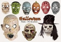 20 Halloween Mask PS Brushes abr. Vol.14