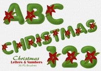 36 Christmas Felt Letters & Numbers PS Brushes abr. Vol.12