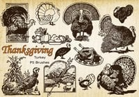20 Thanksgiving Vintage Turkey PS Brushes abr. Vol.10