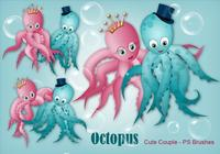 20 Cute Octopus Couple PS Brushes abr.Vol.10