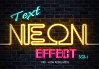 Efecto de texto de neón PSD Vol.1