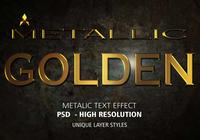 Goldener metallischer Text-Effekt PSD Vol.4