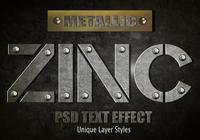 Efeito de texto de zinco PSD Vol.8
