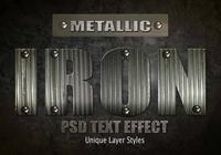 Iron Metallic Text Effect PSD Vol.9