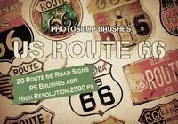 20 Route 66 Road Signs PS Brushes abr.