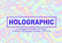4 Holographic Gradient PS Styles - Full PSD-fil